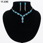 YFJEWE Luxury Austria Crystal Earrings Necklaces & Pendants Jewelry Sets Women Fashion Jewelry Rhinestone Earrings Sets #N100