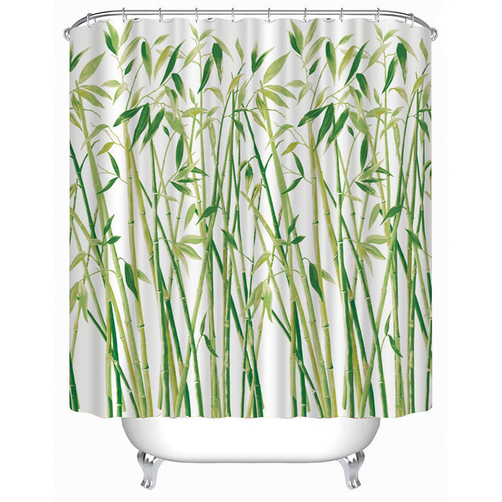 3D Small Bamboo Waterproof Polyester Shower Curtain with Hooks