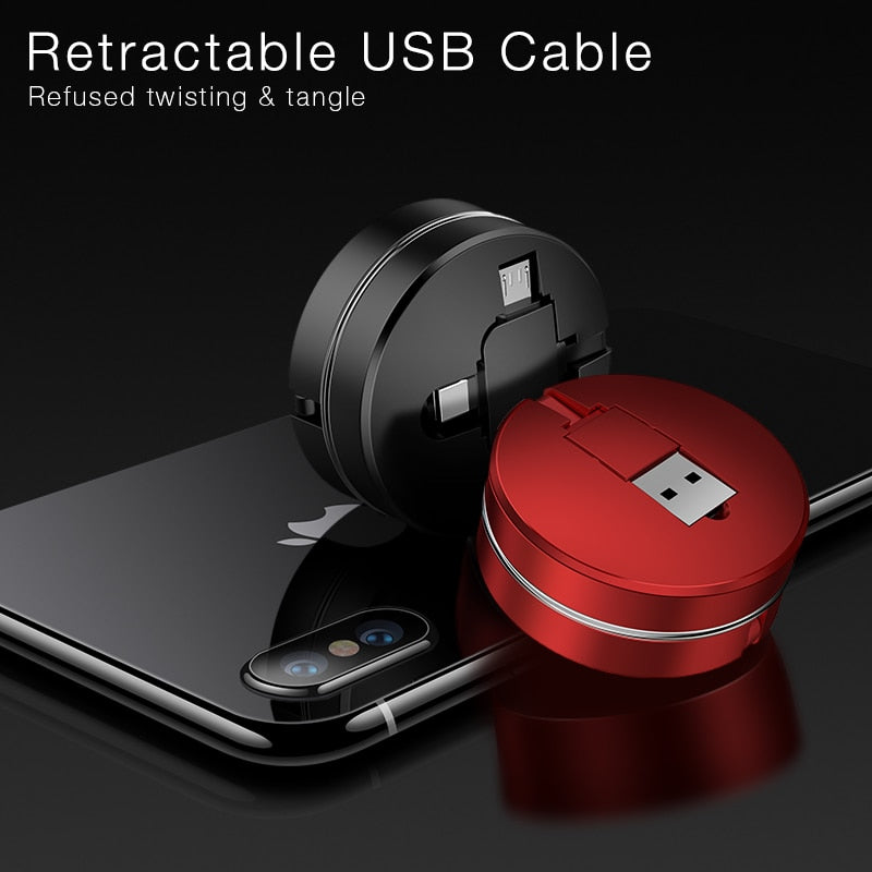 3-in-1 Retractable Micro, Type C, Apple USB Charge Cable