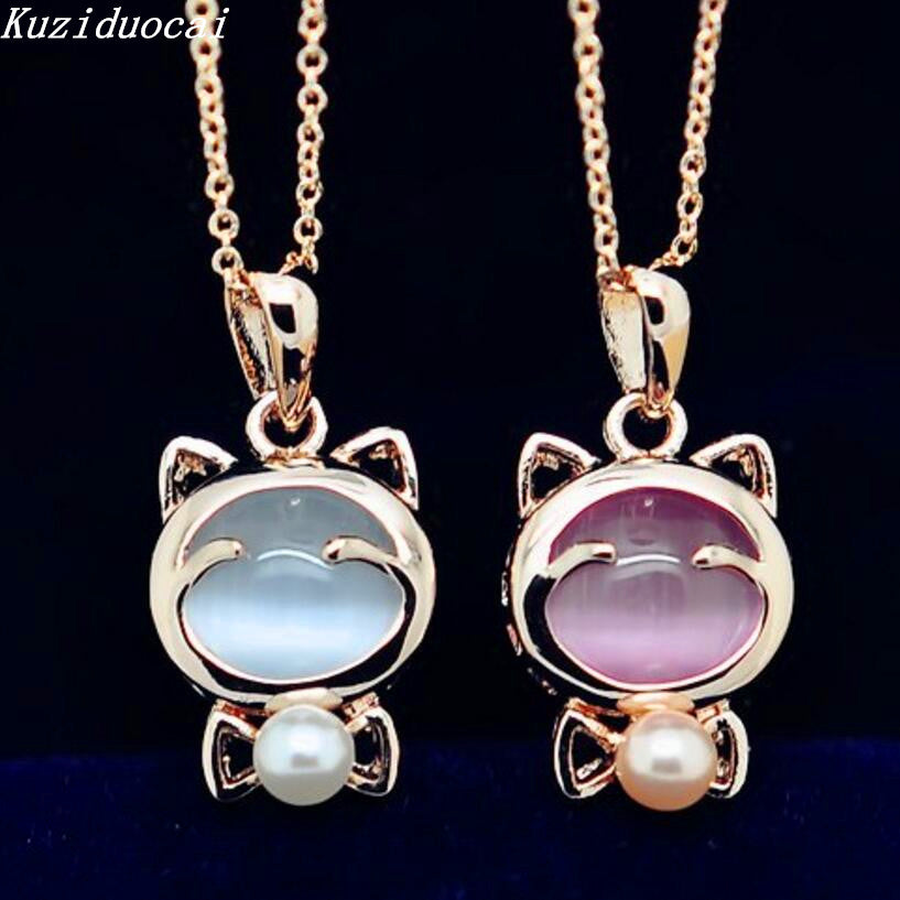 Gold Color Beads Opal Smile Lucky Cat Clavicle Chain Necklaces & Pendants
