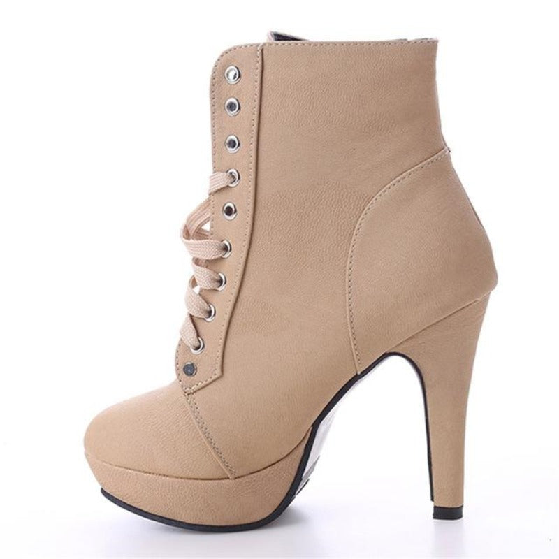GAOKE Autumn Winter Women Ankle Boots High Heels Lace up Leather Double Buckle Platform Short Booties New Black