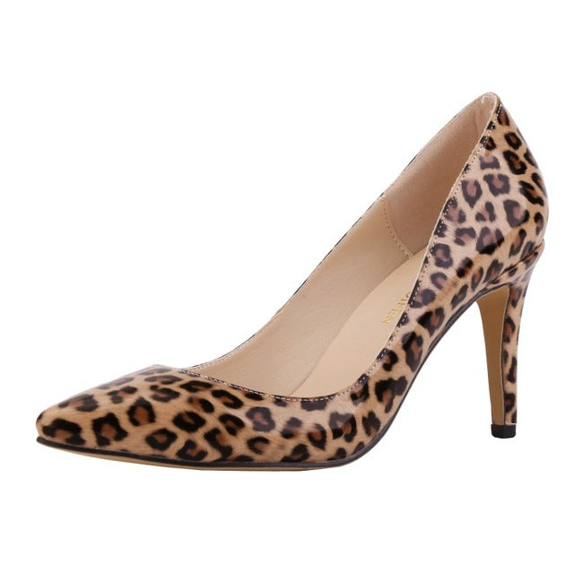 LOSLANDIFEN fashion women pumps pointed toe high heels shoes woman party wedding pu leather ladies heels shoes slip on Leopard