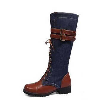 JIANBUDAN Fight mid calf autumn motorcycle boots  belt buckle fashion denim women boots  zippered   knight boots