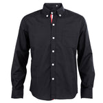 Black Autumn Stylish Shirts for Men Solid Color Ribbon Long Sleeve Slim Fit Casual