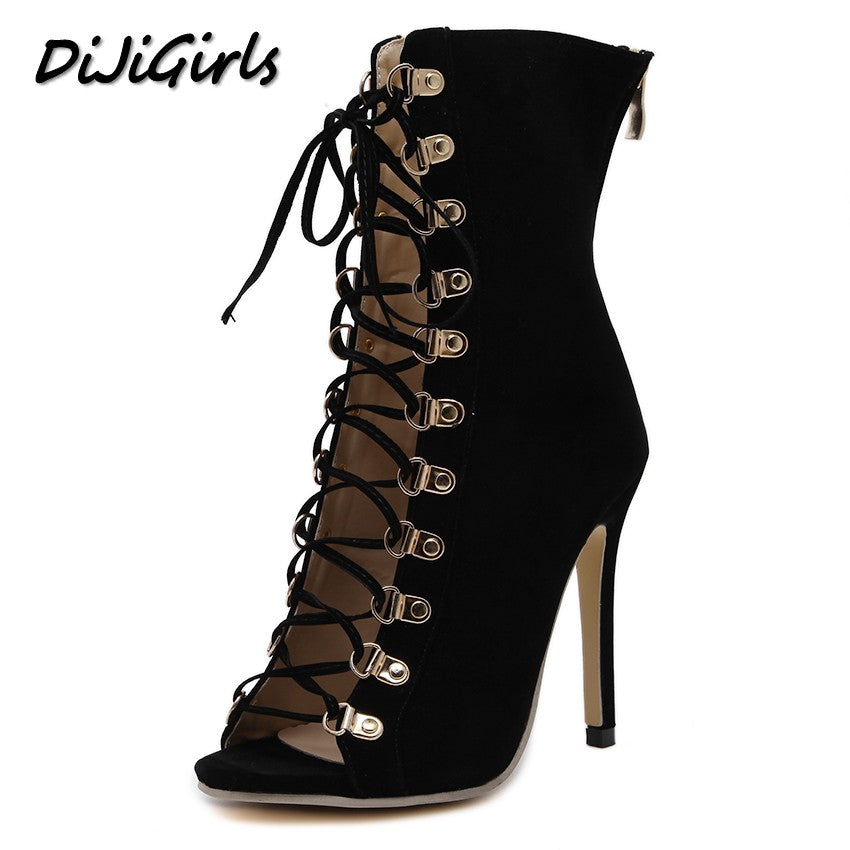DiJiGirls women pumps peep toe high heels gladiator sandals shoes woman party wedding flock leather stiletto lace up summer boot