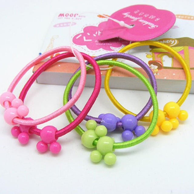5pcs High Quality Carton Round Ball Kids Elastic Hair bands Elastic Hair Tie Children Rubber Hair Band