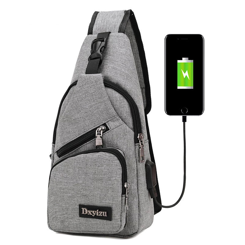 Anti-Theft USB Rechargeable Canvas Shoulder Backpack
