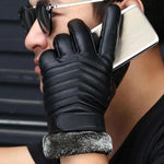 Men's Designer Leather Fur Cuffed Gloves