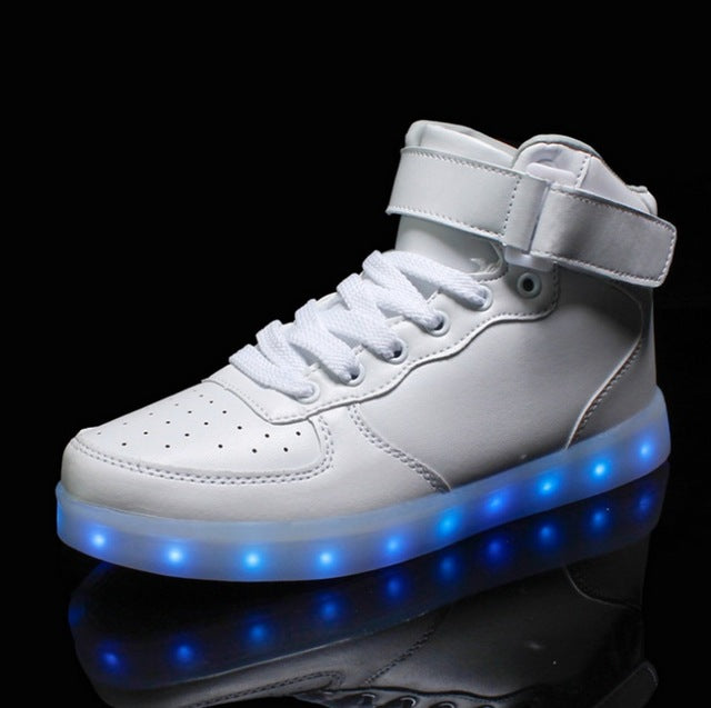 ] Girl Luminous Sneakers Led Women Winter Fox Diamonds Warm Fur Shoes Winter Autumn Led Luminous Shoes with Lights