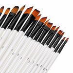 24 pcs Excellent Flat Nylon Hair Wooden Handle Oil Paint Watercolor Painting Brush Set