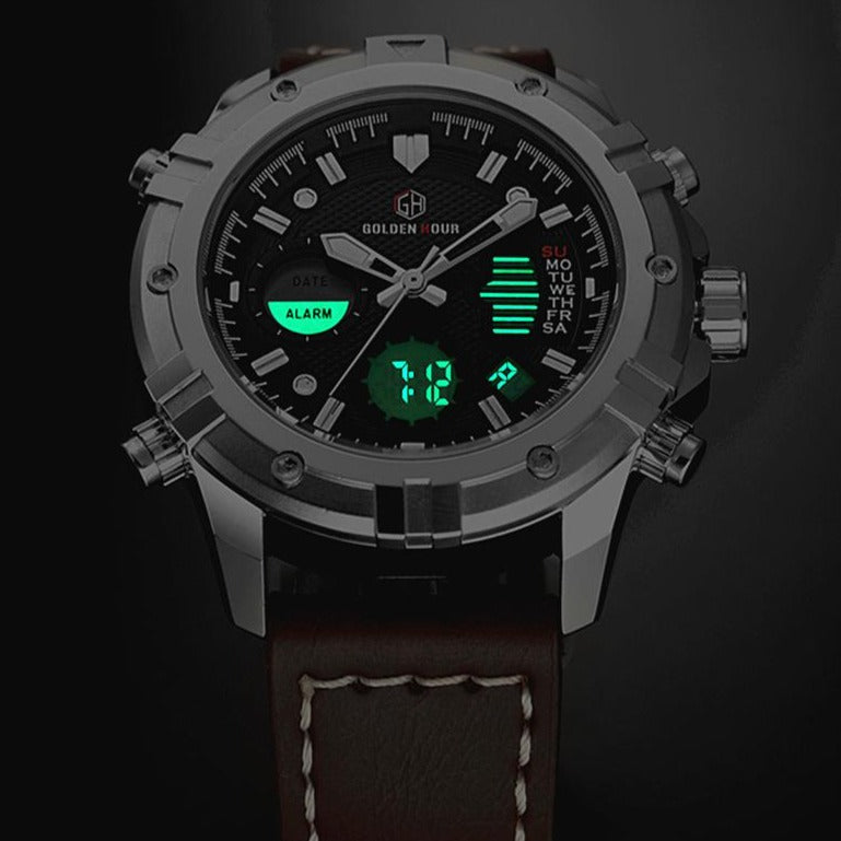 GOLDENHOUR Mens Watches Top Brand Luxury Quartz Analog Digital Watch Men Leather Military Sport Wristwatch