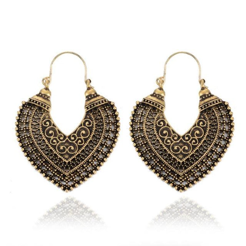 Ethnic Vintage Jewelry Carving Hollow Gypsy Heart Earrings For Women Pendientes Mujer Brincos