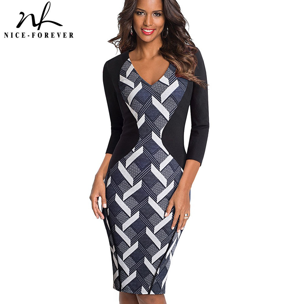 Nice-forever Vintage Optical Illusion Patchwork Wear to Work vestidos Bodycon Office Business Sheath Slim Women Dress B421