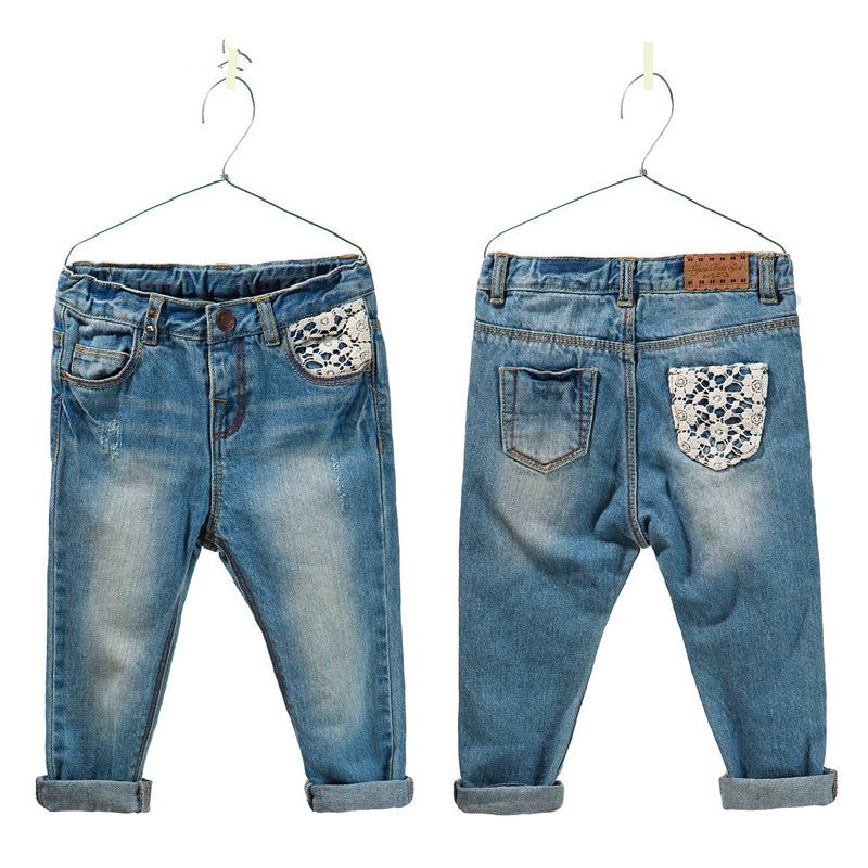 Baby Girls Jeans Pants fashion kids jeans lace jeans for girls baby denim leggings 2-6 years