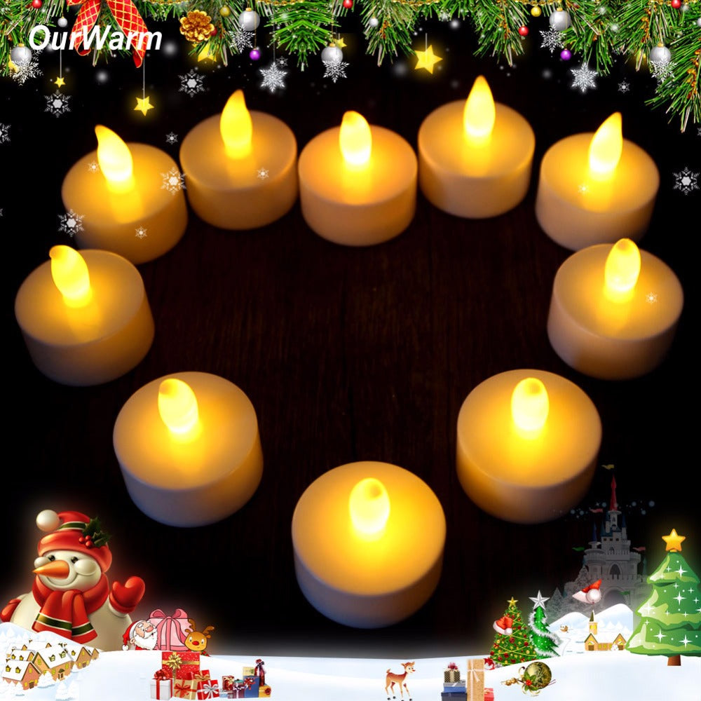 10pcs/lot Romantic Tealight Tea Candles Wedding Decor Candle Light Flickering Light Flameless LED Valentine's Day Decoration
