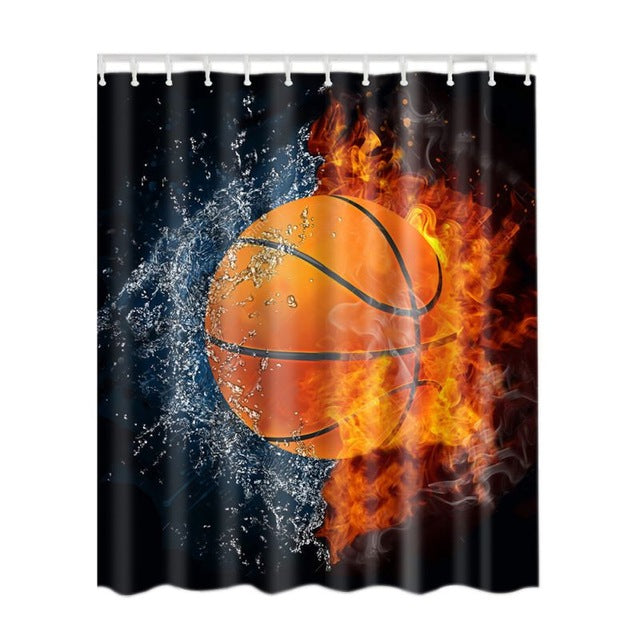 Polyester Shower Curtain Bathroom Decor Home Decorations Tattoo / Basketball/Skeleton Flower / Soccer
