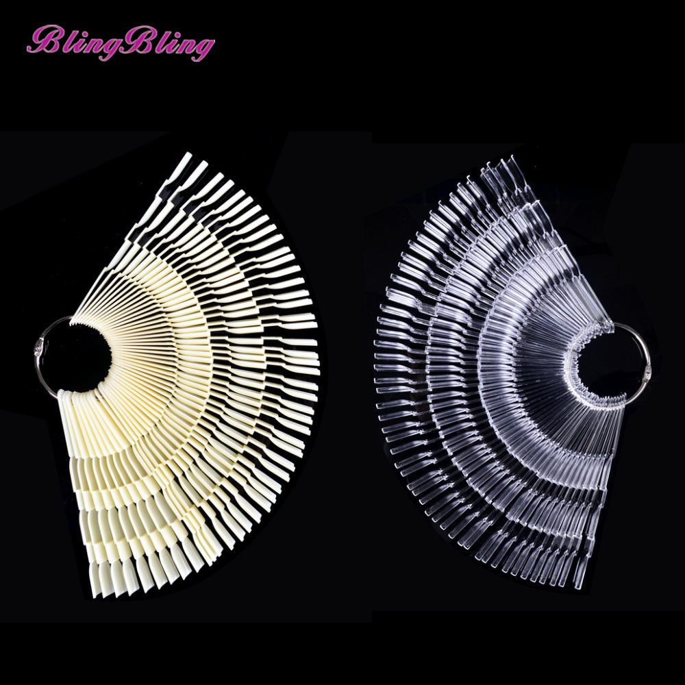 New Ladies False Nails Tips Nail Art Display Tips Clear Fan Wheel Polish Practice Board Sticks White Transparent Color