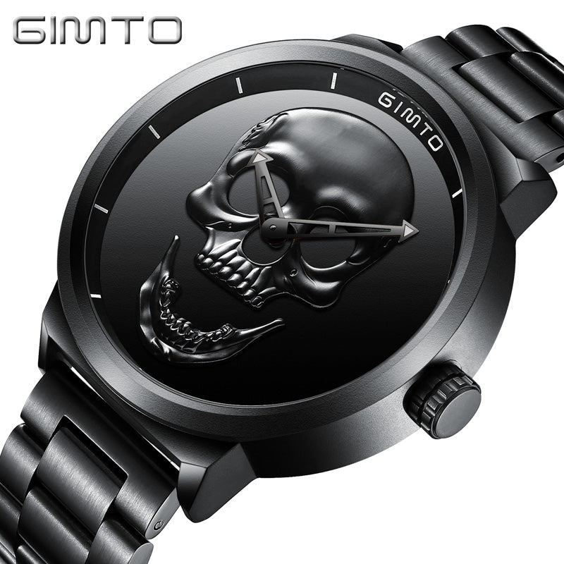 GIMTO Men watch Fashion luxury Waterproof Analog Military create skull Stainless Steel Male Relogio Masculino Quartz Wristwatch
