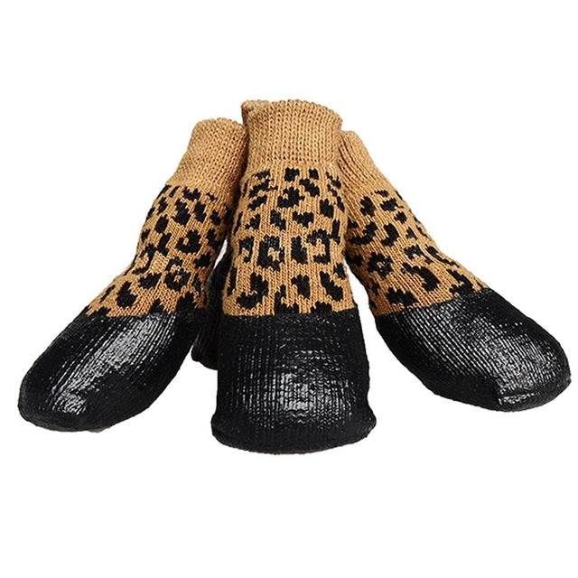 Autumn Winter Outdoor Waterproof Dog Socks Anti Skid Small and Large 4pcs Set Pet Shoes Dog Cotton Shoes