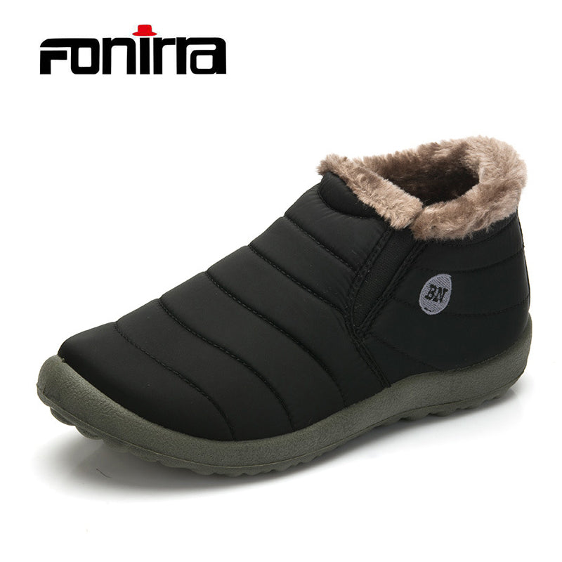 FONIRRA Men Winter Shoes Solid Color Snow Boots Keep Warm Waterproof Ski Boots Slip-on Ankle Boots for Male Plus Size 35-48 261