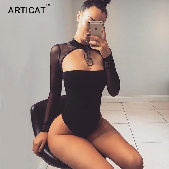 Articat Choker Strapless Sexy Bodysuit Women Mesh Long Sleeve Bandage Bodycon Top Rompers Casual Party Jumpsuits Women Overalls