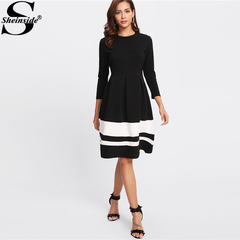 Sheinside Contrast Striped Hem Dress Round Neck 3/4 Sleeve Fit And Flare Dress Women Elegant Knee Length Winter Dress