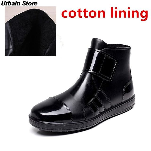 Ankle Mens Rubber Rain Boots Men Water Shoes Pvc Waterproof Fashion Short Gummisitefel Rainboots Black Anti-slip Botas Hombre