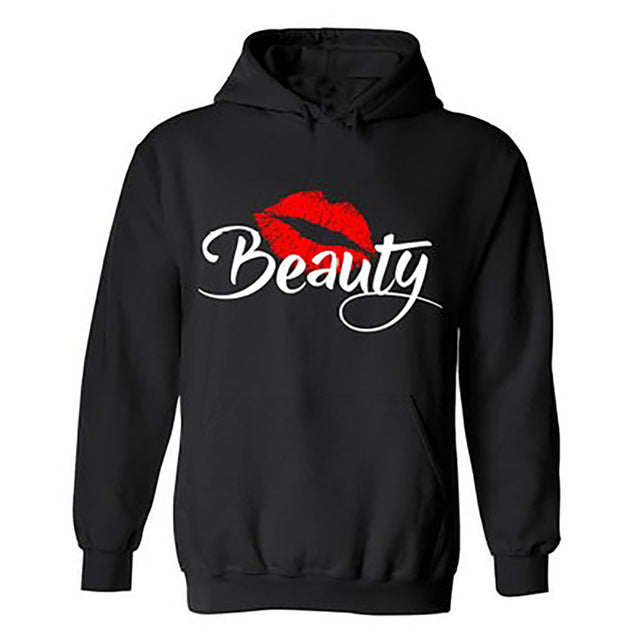 Fashion BEAST and BEAUTY Graphic Print Couple Hoodies Black Hooded Lovers Sweatshirt Autumn Sportswear Moletons Baseball Jersey
