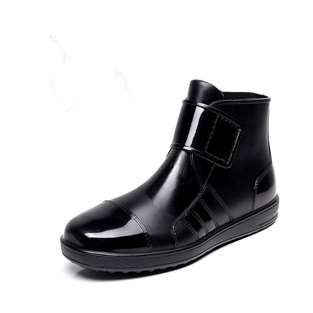 Lace Up Men Pvc Rain Boots Ankle Waterproof Fashion rubber Short Rainboots Solid Casual Slip Breathable Water Shoes Botas Male