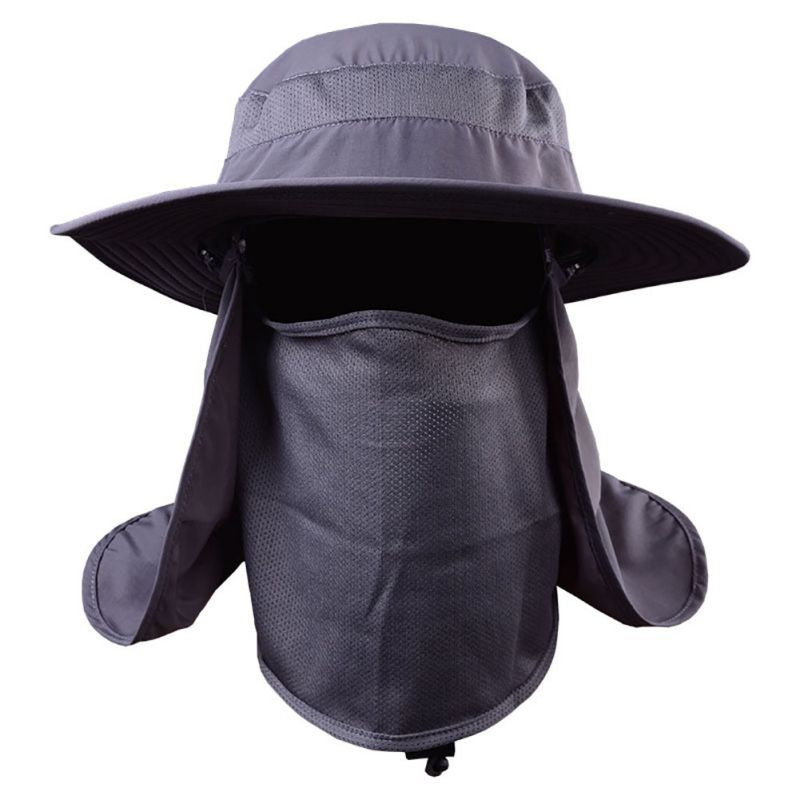 Outdoor Hiking Camping UV Protection Face Neck Cover Fishing Cap Visor Hat Neck Face Flap Hat Wide Brim Buckle