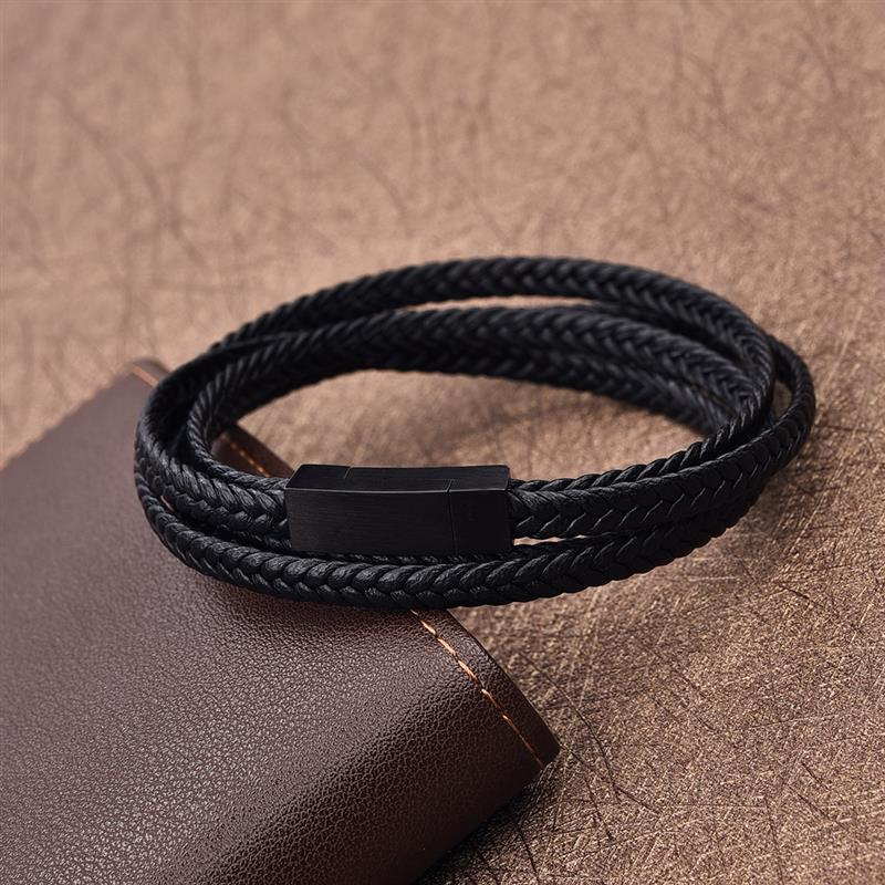 Jiayiqi Fashion Black Genuine Leather Bracelet Black Stainless Steel Clasp Multi Layer Braid Rope Chain Wristband Vintage Gifts