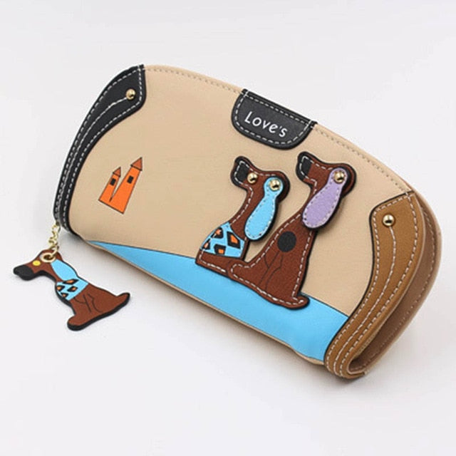 Ladies Cute Puppy Zipper Wallet Clutch