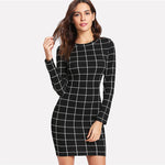 Sheinside Plaid Dress Women Round Neck Long Sleeve Slim Fit  Short Dress Spring Elegant Work OL Bodycon Mini Dress