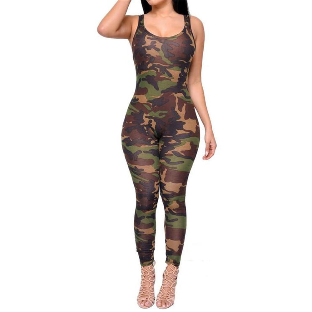 Women's Full Body Sleeveless Camouflage Bodysuit