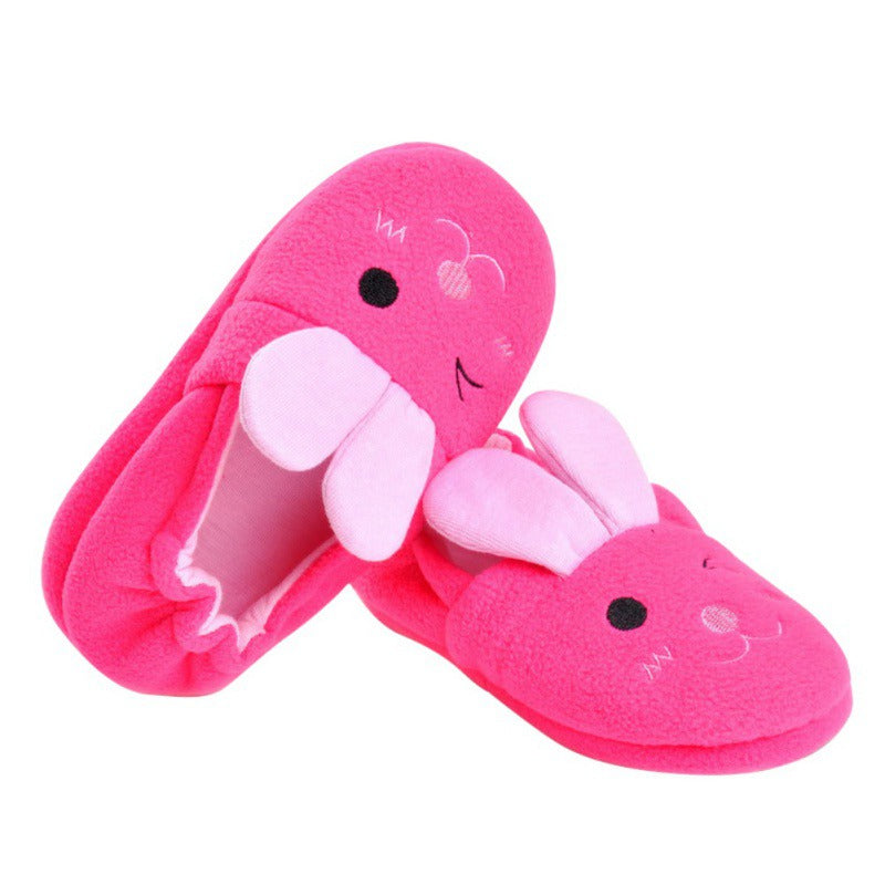 Bobora Brand Cute Rabbit Ears Children Cotton Slippers Home Indoor Anti Slip Baby Plastic Cartoon Slippers
