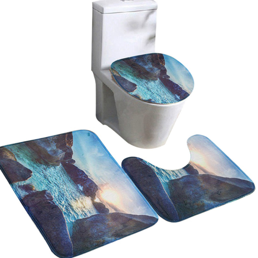 3pcs 3D Toilet Seat Cover Set