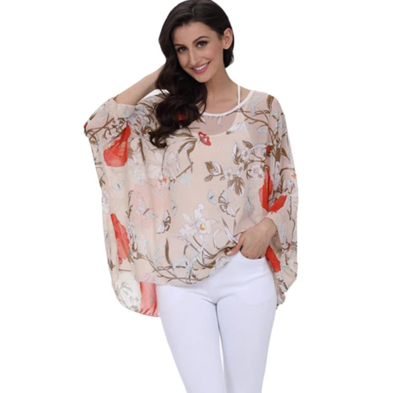 BHflutter Women Blouses Summer Tops Tees New Style Batwing Casual Chiffon Blouse Shirt 4XL 5XL 6XL Plus Size Women Clothing