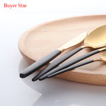 Dinnerware 24PCS/Set Stainless Steel Cutlery Black Dinner Knife Fork Scoops Set Home Kitchen Dinnerware Set Gift for Christmas