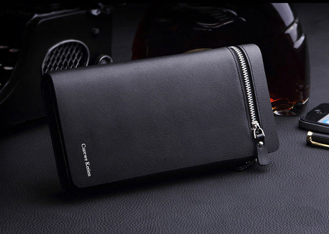 Curewe Kerien New Fashion Men Wallet Solid Color Leather Money Bag Organizer Bifold Vintage Long Purse erkek cuzdan *7717