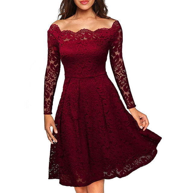 Women's Long Sleeve Lace Trim Dress