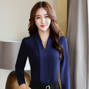 Spring fashion   V-Neck shirt women OL Career temperament formal long sleeve chiffon blouse office ladies plus size tops