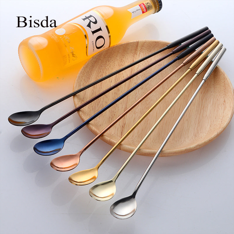7PCS Bar Spoons Stainless Steel Long Cocktail Whisks Gold Swizzle Sticks Barware Fruit Muddlers Drinking Tools Bar Accessories