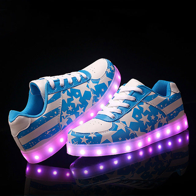 SAGUARO LED Shoes Fashion Luminous Light Up Shoes Men Superstar Glowing Chaussure Led Unisex Lovers Casual Flash Lumineuse