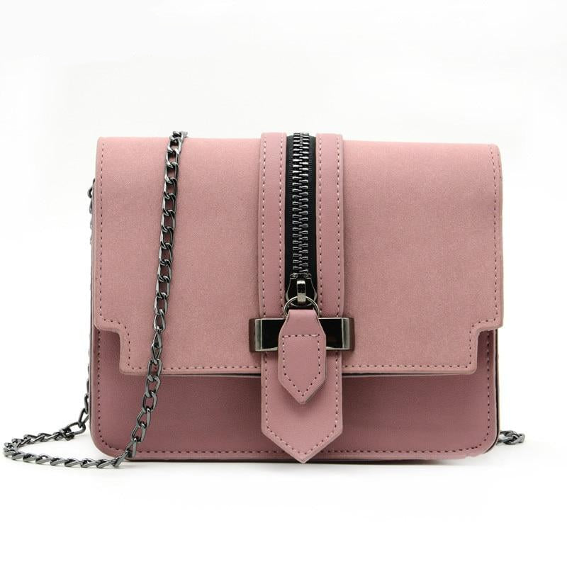 Women's Fashion Matte Leather Designer Shoulder Bag Small Chain Cross BodyPurse