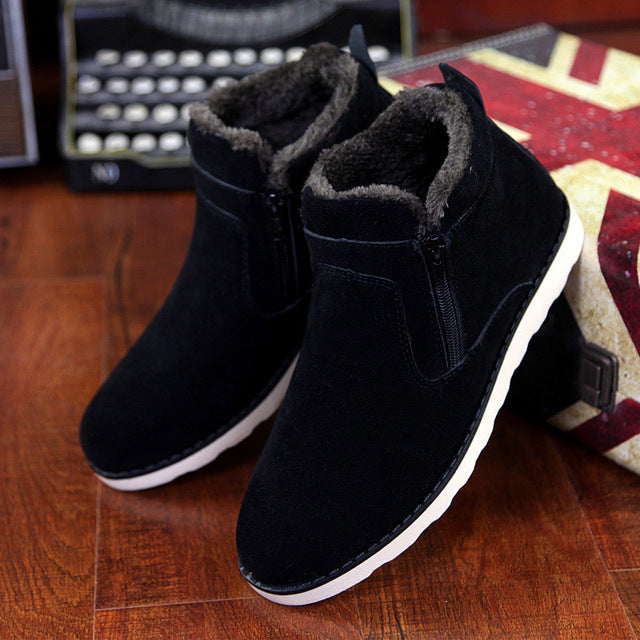 Rubber   Suede   Ankle   Solid   Women   Snow   Warm   Shoe   Boot   Size   Big