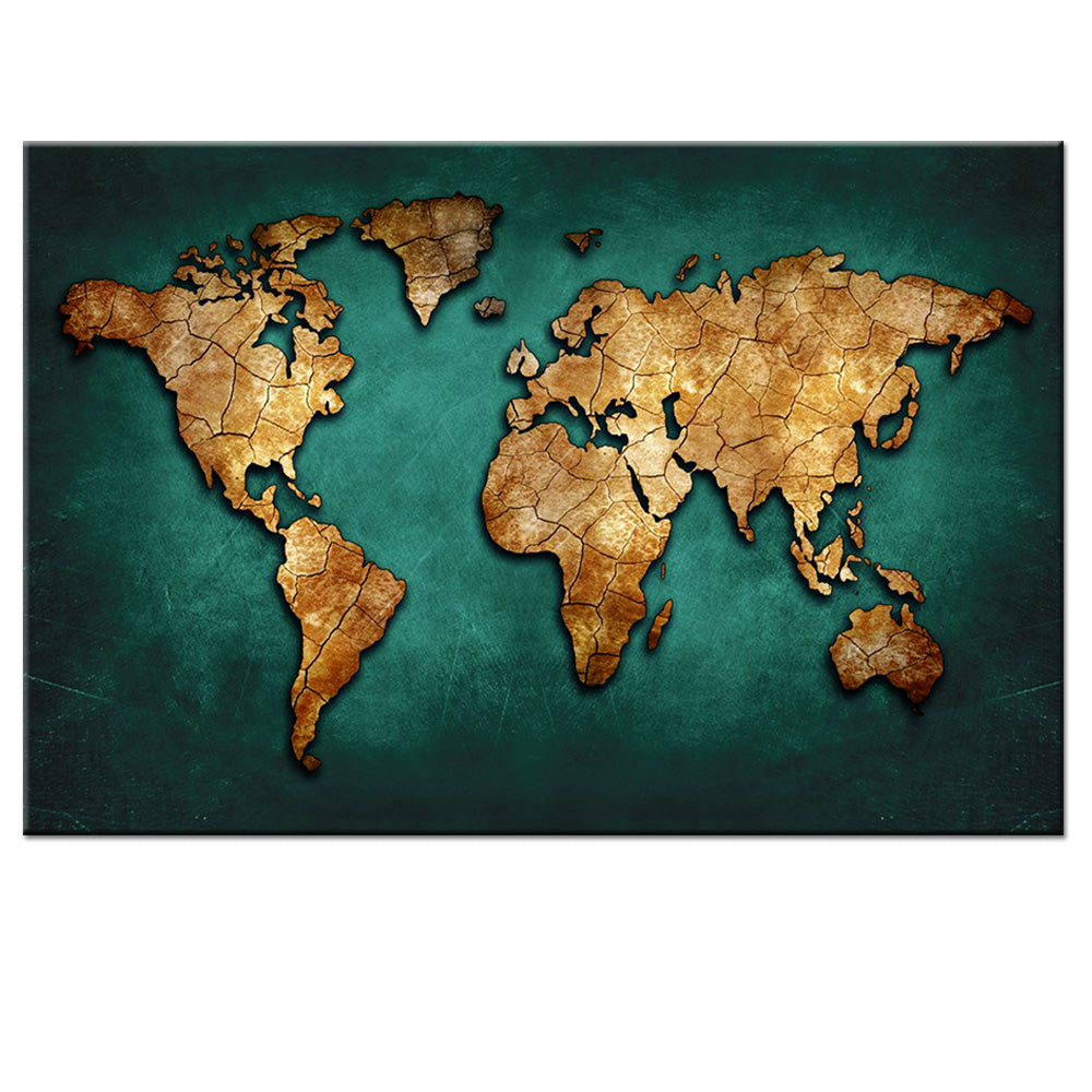 Abstract World Map Painting Print on Canvas