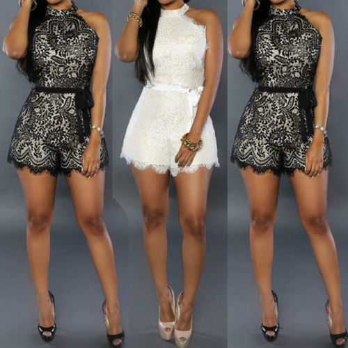 Women Lace Playsuit Evening Party Summer Ladies Jumpsuit Short