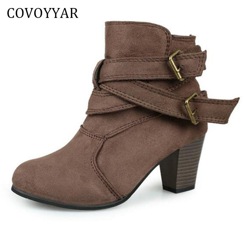 COVOYYAR Fashion Studded Ankle Boots Autumn Winter Buckle Decor Thick Heel Women Booties Slip On Women Shoes