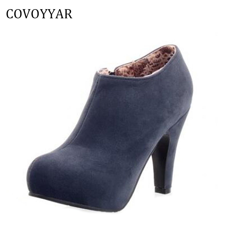 COVOYYAR Elegant Women Ankle Boots Autumn Winter Dress High Heels Lady Suede Boots Platform Shoes Women Size 34-43