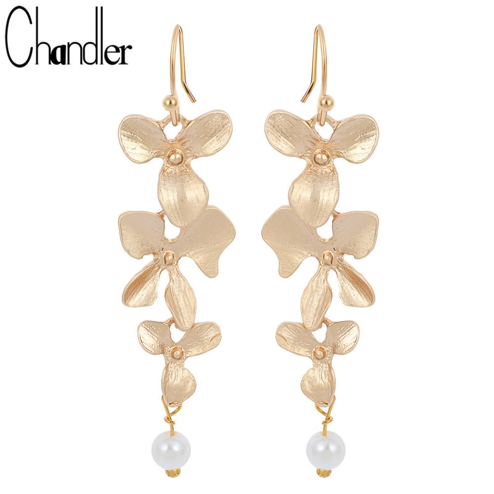 Vintage Korean Orchid Flower Faux Pearl Drop Earring Long Dangling Fashion Infinity Jewelry Elegent Gift For Girls Women Ladies